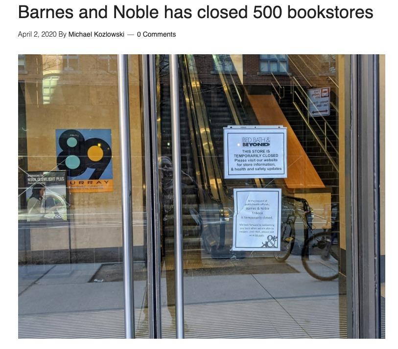 Barnes and Noble Cierra (¿temporalmente?) 500 tiendas